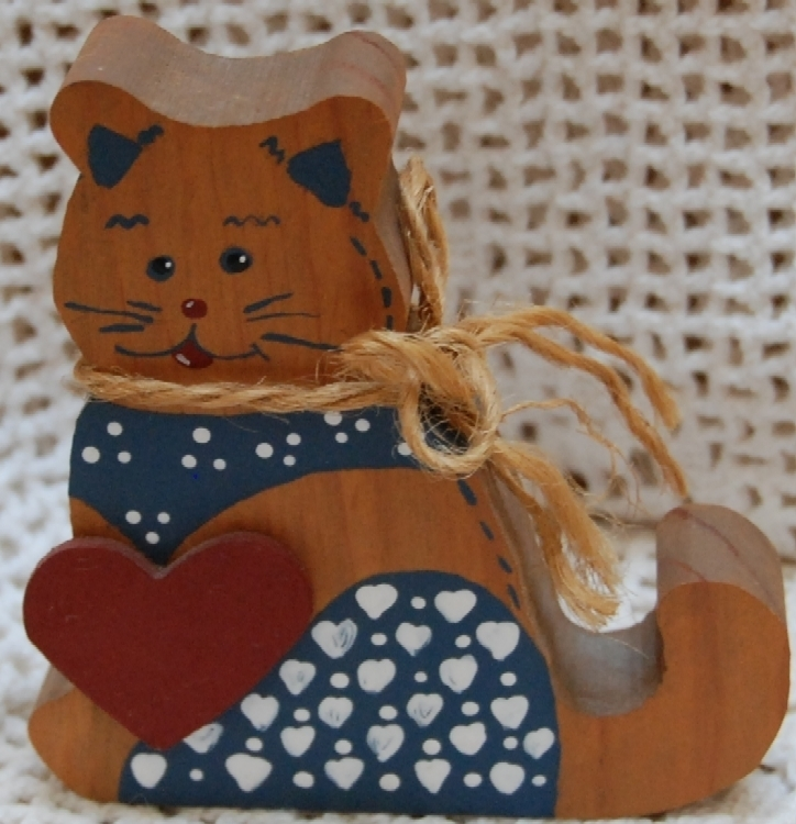 Charming Brown Wood Kitty with Bandana and hearts