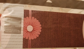 Envelope Pouch - Rose Herringbone w/ 3D paper flower NEW - $3.00