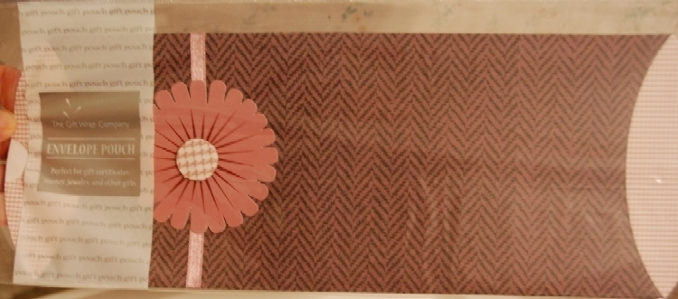 Envelope Pouch - Rose Herringbone w/ 3D paper flower NEW
