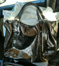 Coach Dylan Limited Edition Metallic Cracked Leather Gun Metal Gray Tote... - $292.05