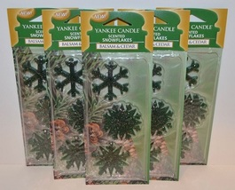 6 new 3 piece yankee candle scented snowflakes balsam & cedar - $20.00