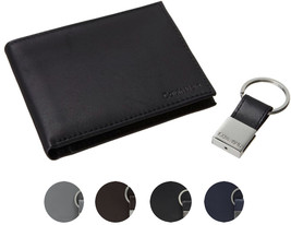 Calvin Klein Ck Men's Leather Bifold Id Wallet Key Chain Set Rfid 79220