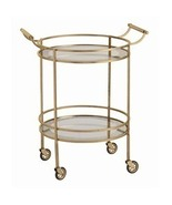 ROUND BRASS & GLASS BAR CART on Wheels, Modern,... - $1,259.00