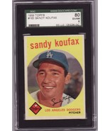 Sandy Koufax 1959 Topps #163 Baseball Card SGC 80 EX//NM 6 - $129.00