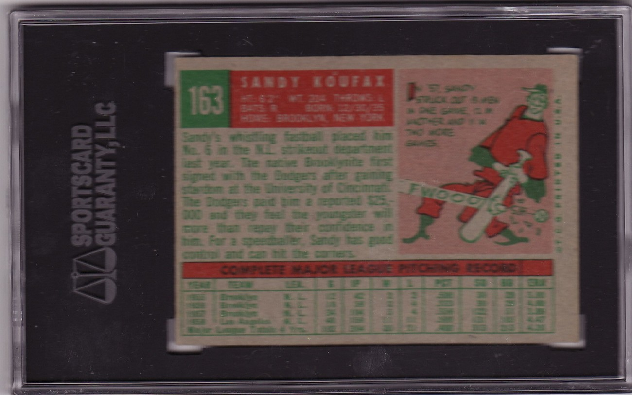 Sandy Koufax 1959 Topps #163 Baseball Card SGC 80 EX//NM 6