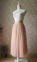 Blush Pink Long Tulle Skirt High Waisted Plus Size Long Tulle Tutu Blush Skirt image 4