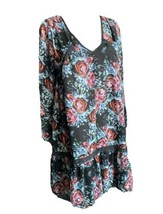 Anthropologie Maeve Long Sleeve Dress black floral Rose S Polka Dot Baby... - $34.64