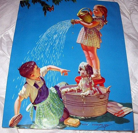 1948 R.JAMES STUART Vintage Print-DOGGONE YOU! Children Bath