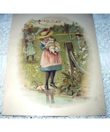 1800s Sweet Chromolithograph-Girl In Hat Holding Puppy - $38.00