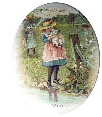 1800s Sweet Chromolithograph-Girl In Hat Holding Puppy