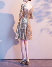 Knee Length Gold Sequin Dress Half Sleeve Sequin Gold Dress Wedding Guest Dress image 7