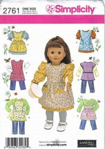 Simplicity Pattern #2761 18 inch Doll Wardrobe includes Pinafores & Aprons Uncut - $6.99