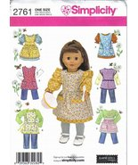 Simplicity Pattern #2761 18 inch Doll Wardrobe includes Pinafores & Apro... - $6.99