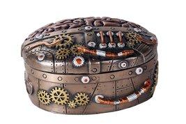 Steampunk Clockwork Mind Brain Box Cast Bronze Lidded Stash Box Sculptural Decor - $27.71