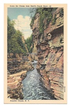 Down the Ausable Chasm from Devils Punch Bowl New York CW Hughes Linen Postcard - $4.99