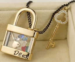 Fashion Key and Lock Long Chain Pendant Necklace - £12.29 GBP