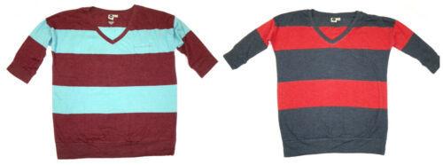 ROXY Junior Women's Shirt V-Neck 3/4 Sleeve Tee Striped T-Shirt Top NEW
