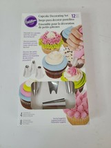 Wilton Cupcake Decorating Set with Icing Tips 12 Piece Silver Dishwasher... - $18.99