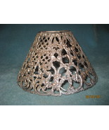 Vintage pierced metal candle shade with flowers - $20.00