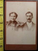 Cabinet Card Nice Couple Vignette Studio Info! c.1866-80 - $6.40