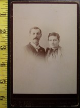 Cabinet Card Nice Couple #2 Vignette Studio Info! c.1866-80 - $6.40