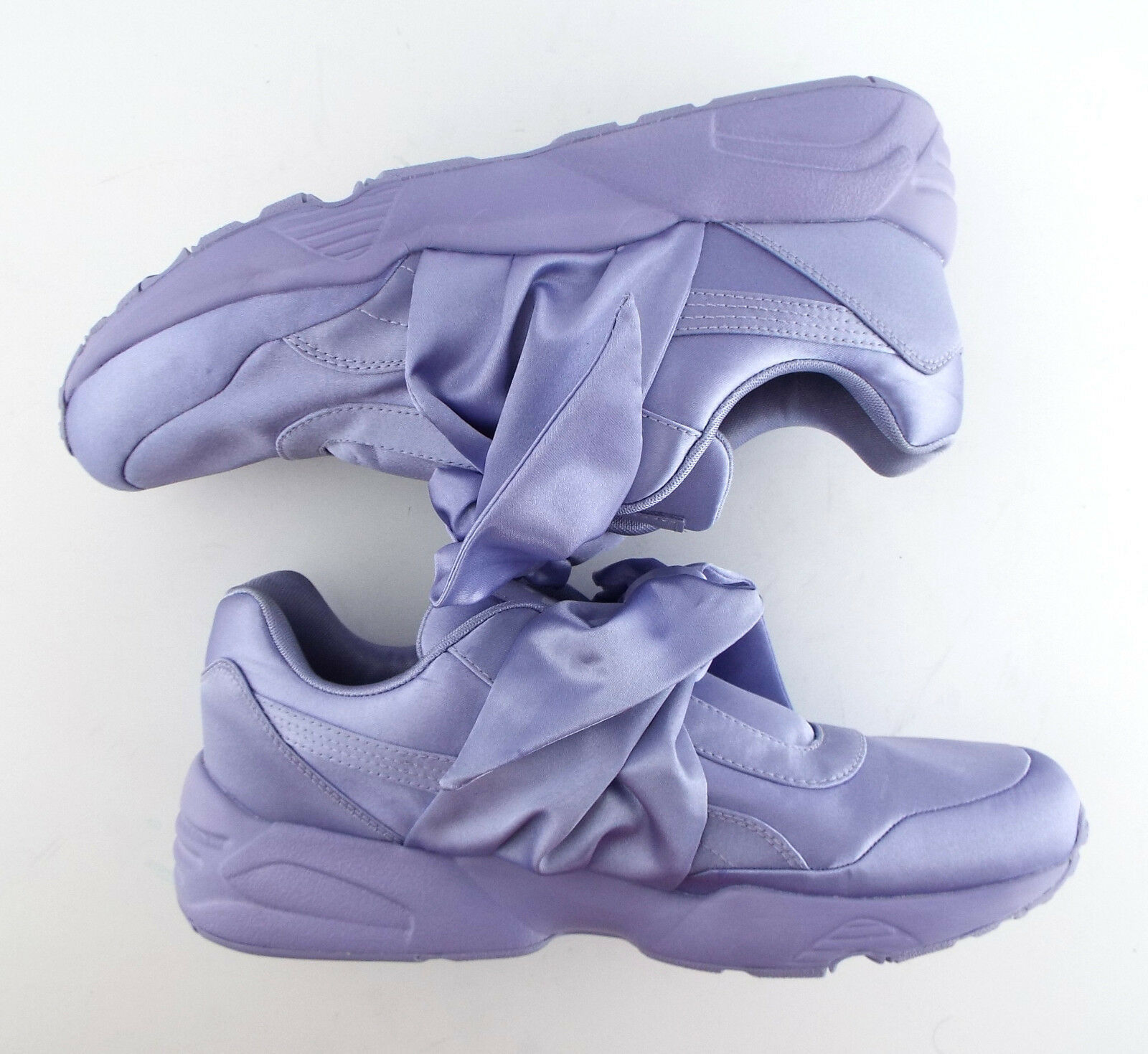 New PUMA RIHANNA Size 9 FENTY Purple Satin Bow Sneakers Shoes image 6