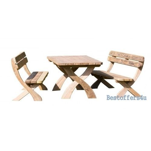 Patio Wooden Dining Table and Bench Set 6 Seaters Garden Solid Luxury Furniture image 4