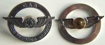 WWII CAA Pilot Hat Insignia Sterling