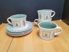 FOUR (4) Pfaltzgraff Naturewood Flat Cup & Saucer Sets Beige Leaves Gard... - $20.79