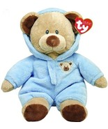2015 Ty Baby Bear Light Blue Non-Removable Pajamas Hood PJs Pluffies Plush - $8.55