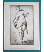 NUDE Young Woman Standing with Drapery by Jean Cousin - Antique Print - $12.96