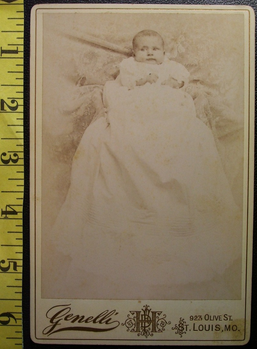 Cabinet Card Baby White Gown & Hidden Mom #2! c.1866-80