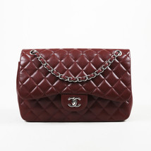Chanel Burgundy Quilted Caviar Leather Jumbo Flap Bag - £3,217.56 GBP
