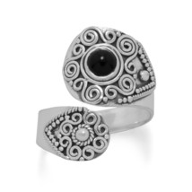 Sterling Silver Wrap Band Black Onyx Ring - €52,42 EUR