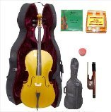 Lucky Gifts 1/4 Size GOLD Cello,Hard Case,Soft Bag,Bow,2 Sets of Strings,Tuner
