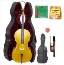 Lucky Gifts 1/4 Size GOLD Cello,Hard Case,Soft Bag,Bow,2 Sets of Strings... - $270.20