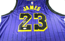 LEBRON JAMES / AUTOGRAPHED LOS ANGELES LAKERS PRO STYLE BASKETBALL JERSEY / COA image 1