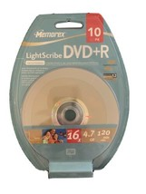 NEW MEMOREX LIGHTSCRIBE DVD+R RECORDABLE 10 PACK UP TO 16X 4.7GB 120 MIN... - $19.95