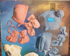 Knitting Patterns BABY Babies Accessories MITTS BOOTEES CAPS BONNETS - $4.95