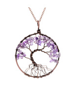 MAW Seven Chakras Tree Of Life Natural Stone Pendant Necklace - $5.09+