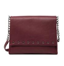 New LONGCHAMP Paris Rocks Grommet Leather Shoulder Bag GARNET RED $680 A... - $398.00