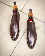 Handmade Men's Brown High Ankle Chelsea Style Leather Boots image 3