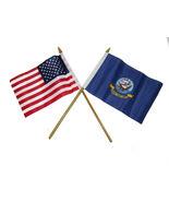 "USA American w/ Navy Ship Emblem Flag 4""x6"" Desk Set Black Base Gold Staff - $20.00"