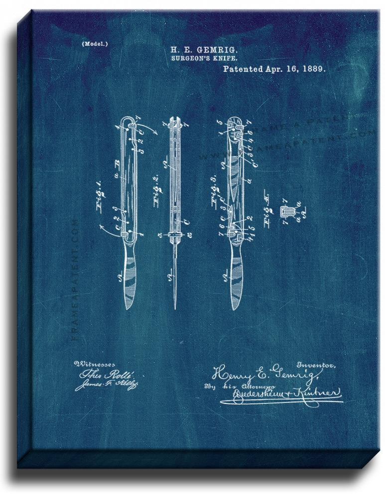 Primary image for Surgeon's Knife Patent Print Midnight Blue on Canvas
