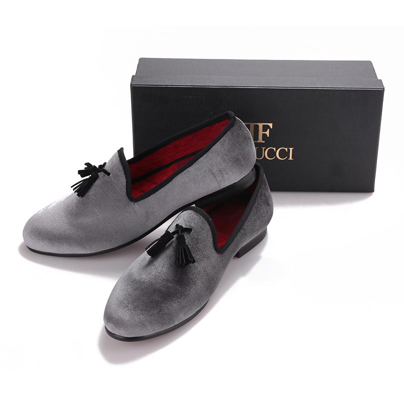 Business Schuhe FERUCCI Gray custom made Velvet Slippers