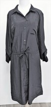 NEW Old Navy Women's Black Drawstring Shirt Dress Size L Tall Sateen Poly - $17.84