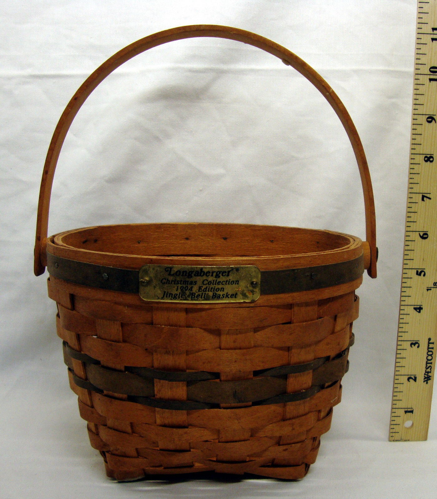 1994 Longaberger Jingle Bell Basket Christmas Collection w/ Liner and Protector