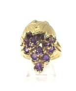 14k Yellow Gold Vintage Women's Grape Cluster Cocktail Ring Amethyst Bir... - $604.75