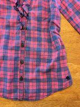 Abercrombie Kids Girl's Blue & Pink Plaid V-Neck Dress Shirt - Medium image 9