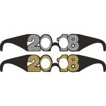 2018 6 Ct Favor Glasses New Years Eve Graduation Black Gold Silver Glitter - $7.08 CAD